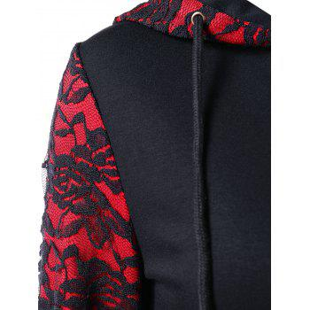 Gothic Roses Lace Panel Zipper Hoodie - BLACK M