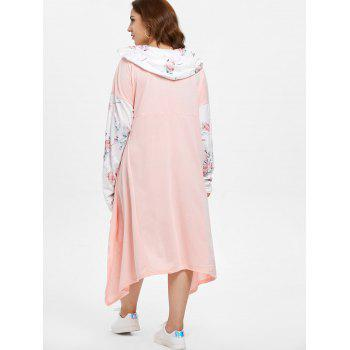Plus Size Floral Long Sleeve High Low Dress - PINK 2X