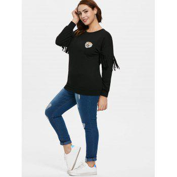 Plus Size Fringed Patched Sweatshirt - BLACK 3X