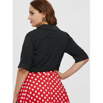 Plus Size Half Sleeve Pocket Blouse - BLACK 1X