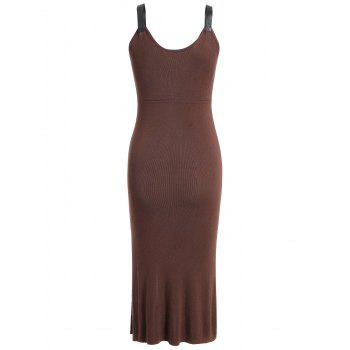 Knit Bodycon Knee Length Dress - COFFEE L