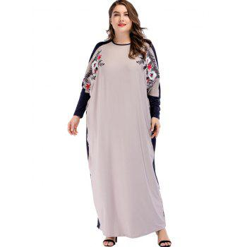 Plus Size Long Sleeve Embroidered Maxi Dress - LIGHT GRAY ONE SIZE