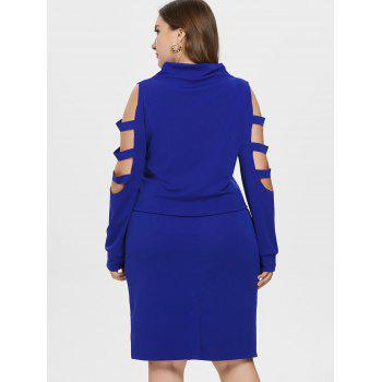 Plus Size High Neck Ripped Top with Skirt - BLUE L