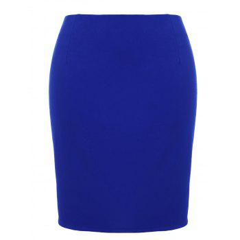 Plus Size High Neck Ripped Top with Skirt - BLUE 3X