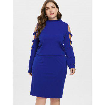 Plus Size High Neck Ripped Top with Skirt - BLUE 5X