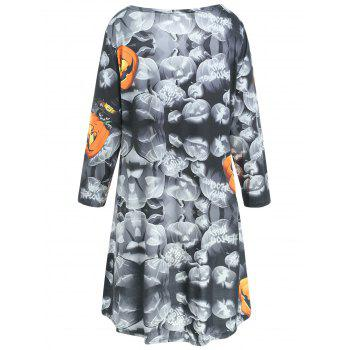 Halloween Pumpkin Print High Low Swing Dress - BLACK M