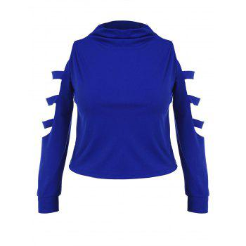Plus Size High Neck Ripped Top with Skirt - BLUE 2X