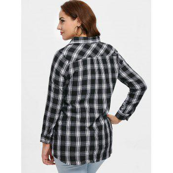 Plus Size Plaid Embroidery Shirt - BLACK 1X