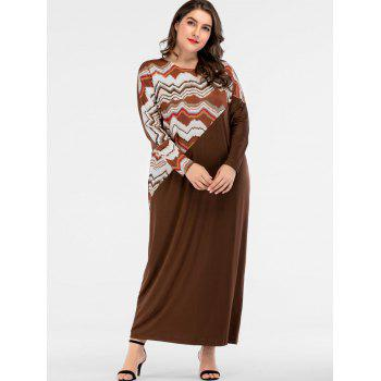Plus Size Wave Print Panel Long Dress - BROWN ONE SIZE