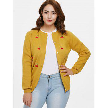 Plus Size Cherry Embroidered Cardigan - GOLDEN BROWN 2X