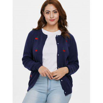 Plus Size Cherry Embroidered Cardigan - CADETBLUE L