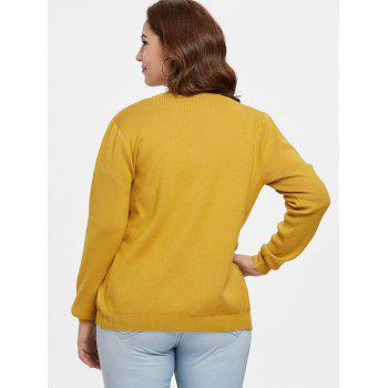Plus Size Cherry Embroidered Cardigan - GOLDEN BROWN 4X