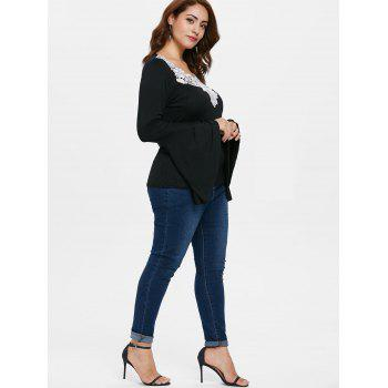 Plus Size Bell Sleeve Lace T-shirt - BLACK 5X
