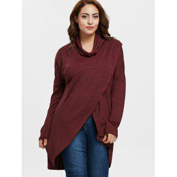 Asymmetrical Plus Size Cowl Neck Sweatshirt - RED WINE 2X