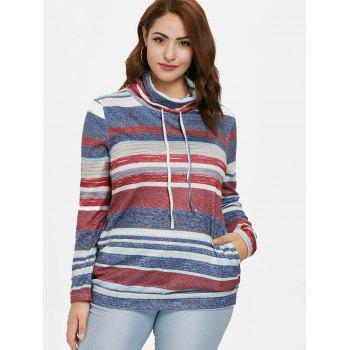 Color Block Striped Plus Size Sweatshirt - BLUE L
