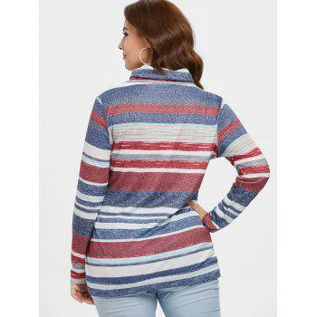 Color Block Striped Plus Size Sweatshirt - BLUE 2X