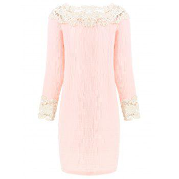 Lace Panel Nightgown Sleeping Dress - PINK S