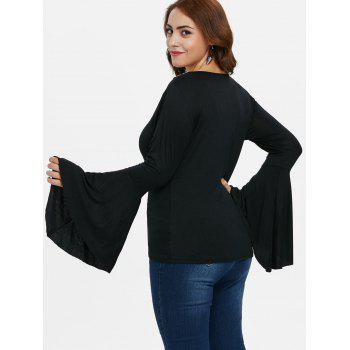 Plus Size Bell Sleeve Lace T-shirt - BLACK 2X