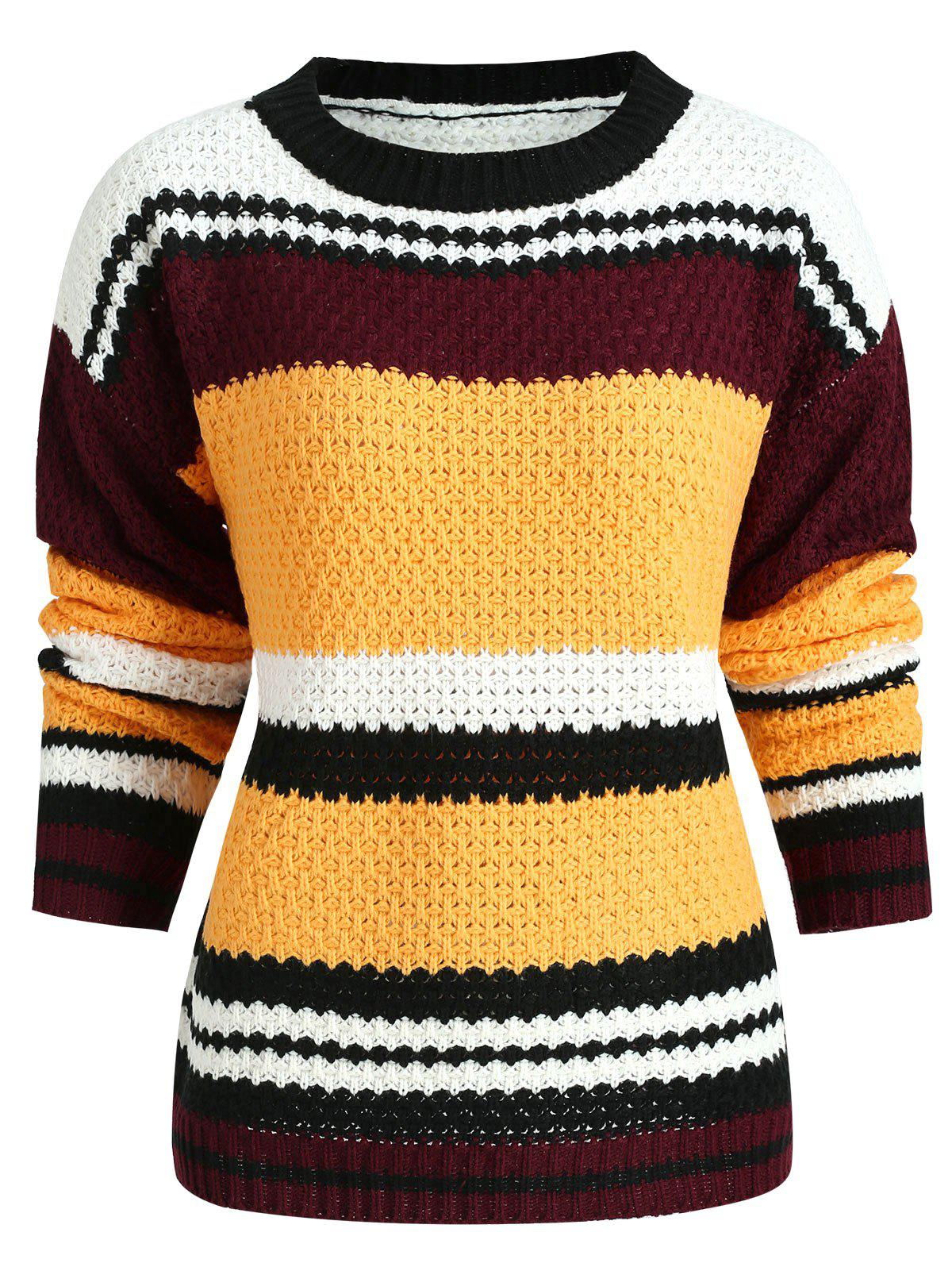 Hit Color Stripe Sweater - multicolor ONE SIZE