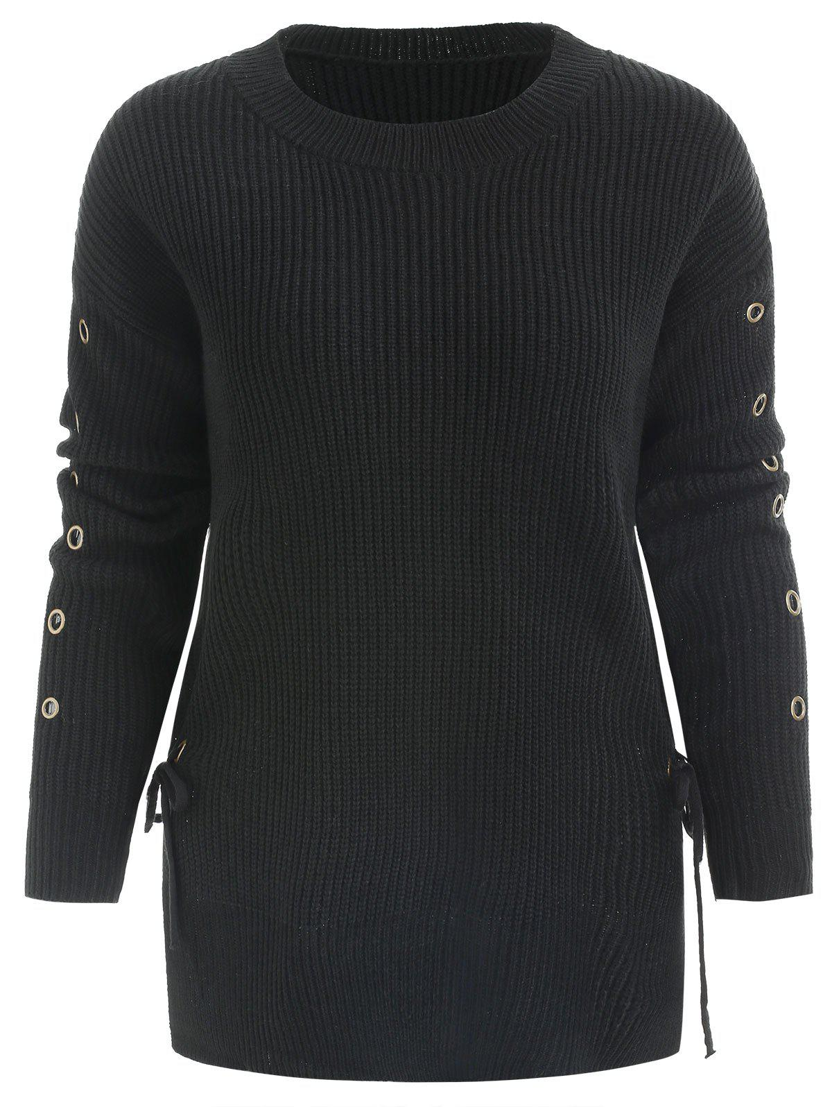 Grommet and Lace Up Embellished Sweater - BLACK ONE SIZE