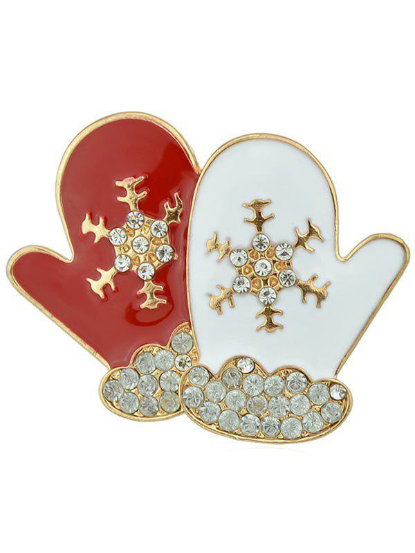 Christmas Snowflake Gloves Design Rhinestone Brooch - WHITE