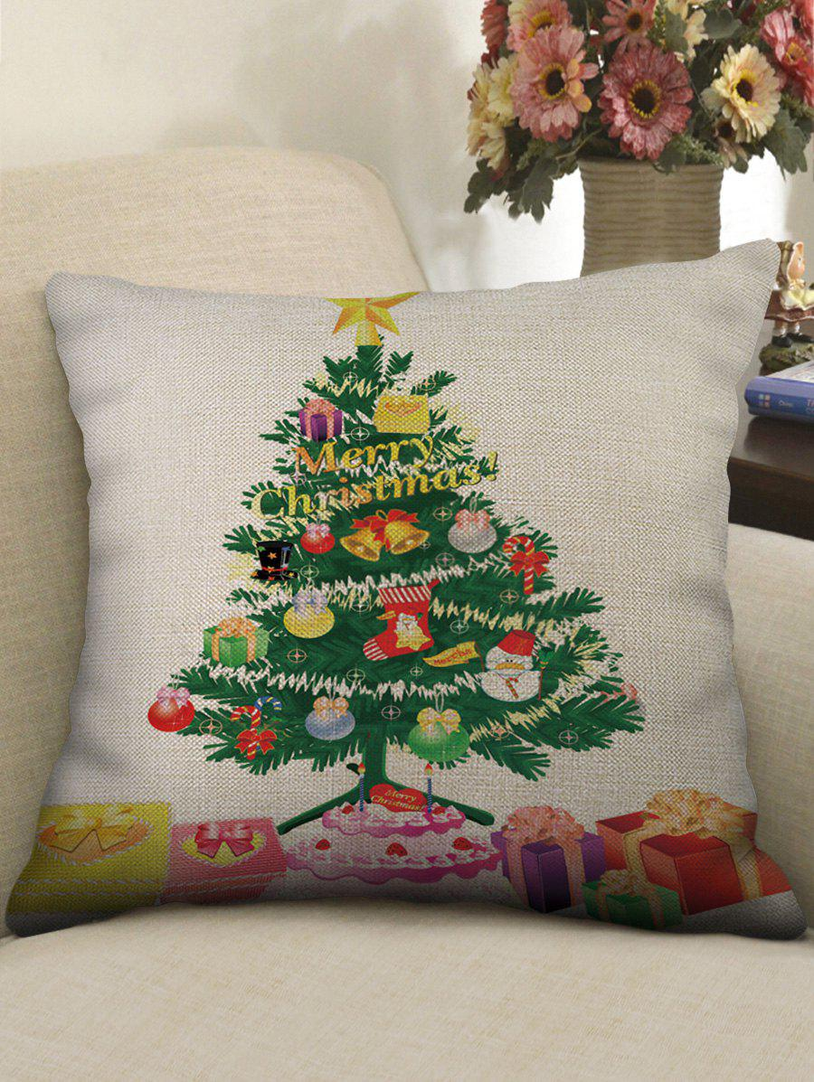 Christmas Gift Tree Pattern Square Pillowcase - multicolor W18 X L18 INCH