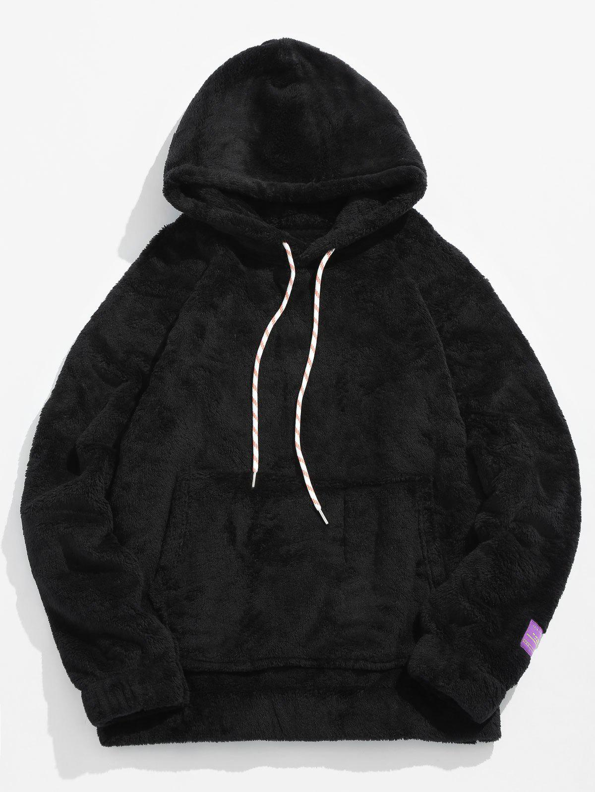 Pouch Pocket Patch Detail Fluffy Hoodie - BLACK L