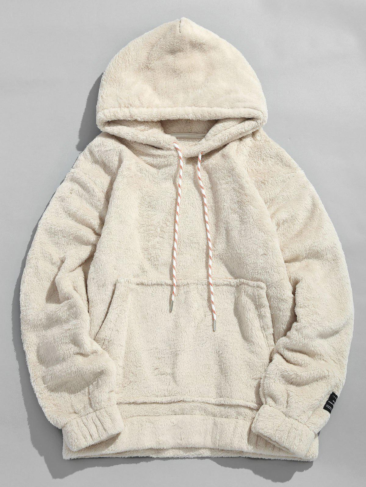 Pouch Pocket Patch Detail Fluffy Hoodie - WARM WHITE L
