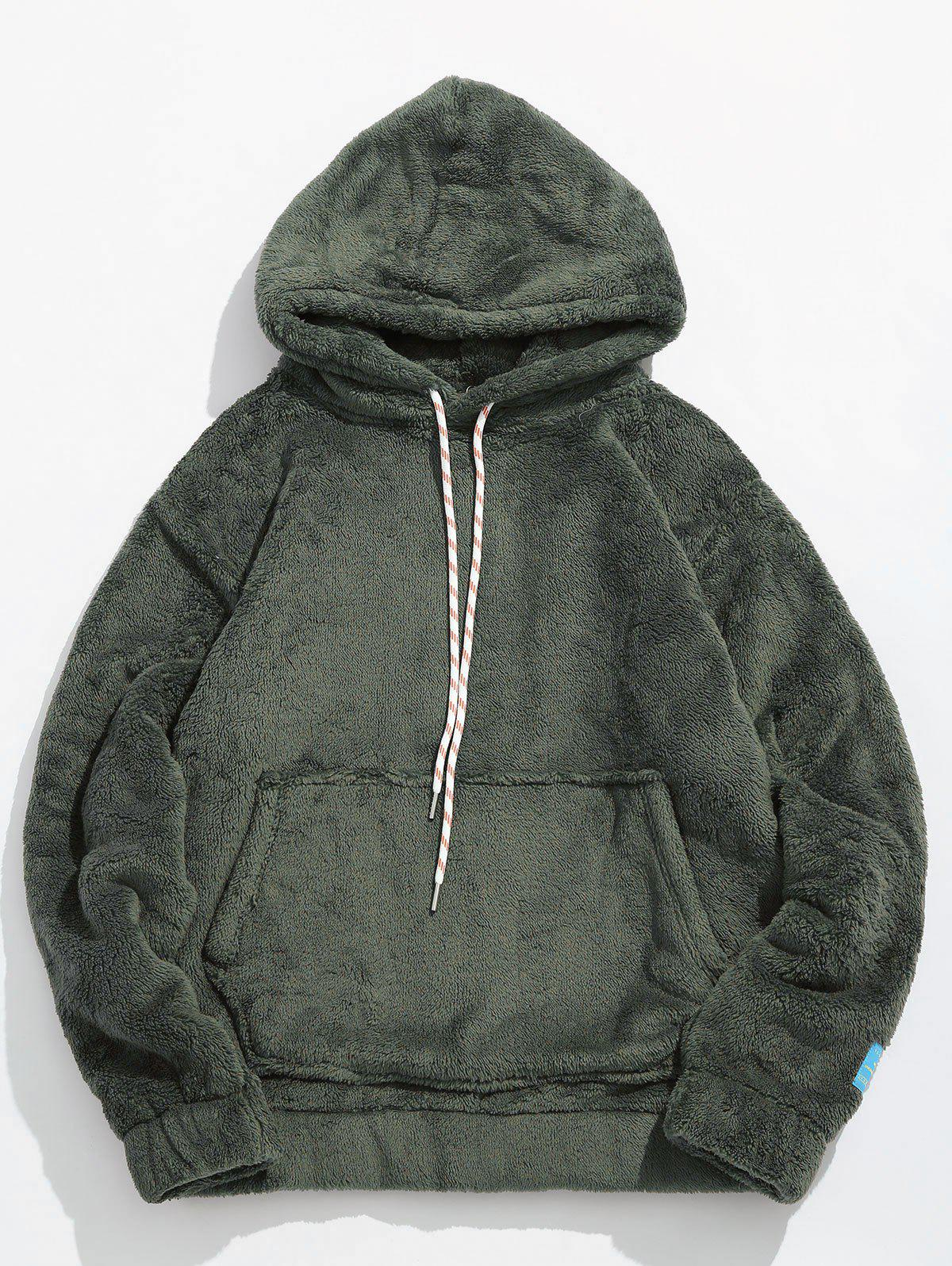 Pouch Pocket Patch Detail Fluffy Hoodie - ARMY GREEN S