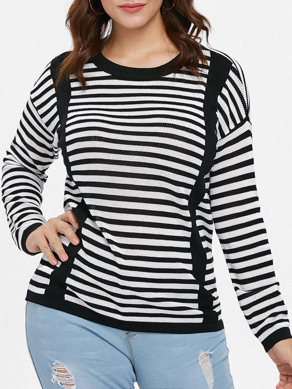 Plus Size Long Sleeve Striped Sweater - BLACK L