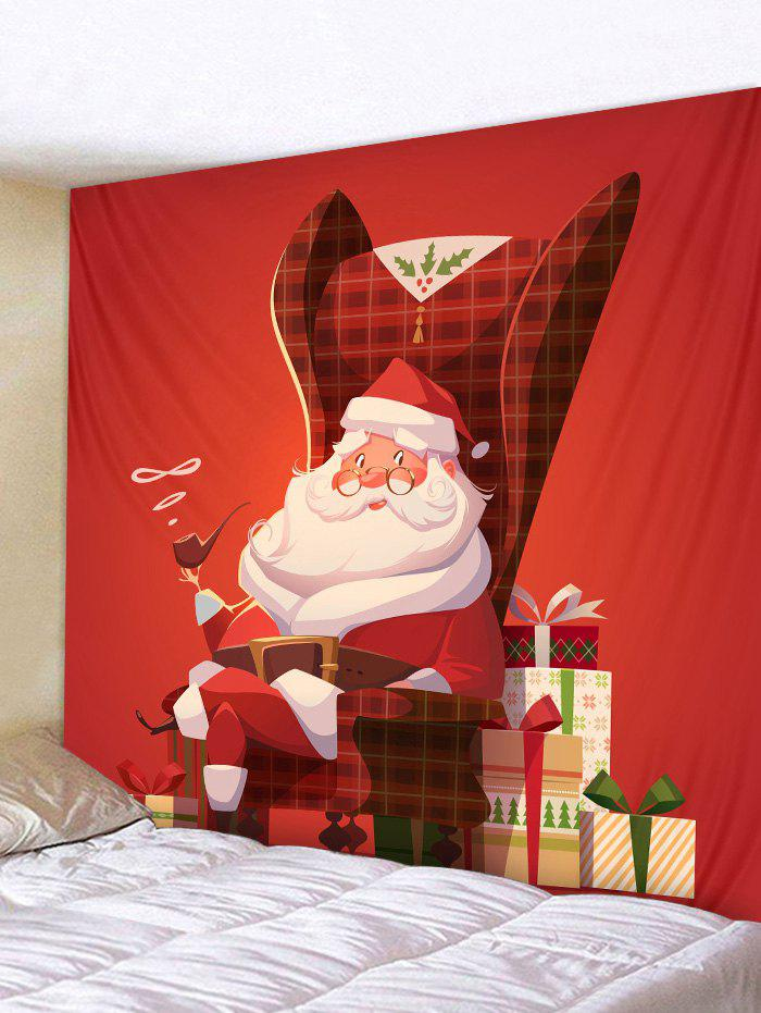 Christmas Santa Claus Gift Wall Tapestry Decoration - RED W91 X L71 INCH