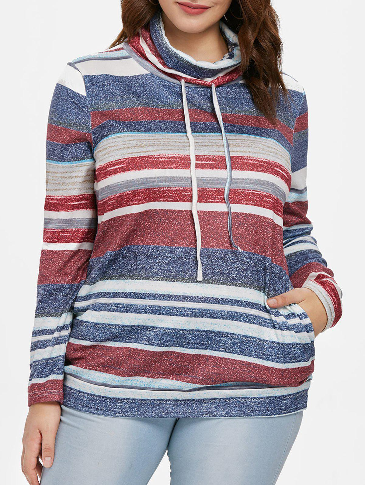 Color Block Striped Plus Size Sweatshirt