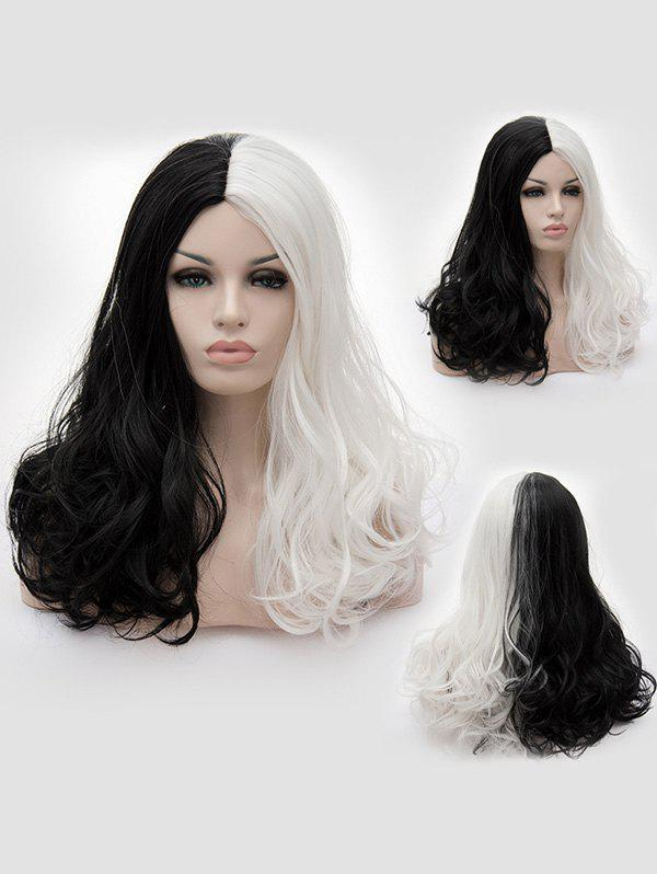 Middle Part Two Tone Long Wavy Party Cosplay Synthetic Wig - multicolor A