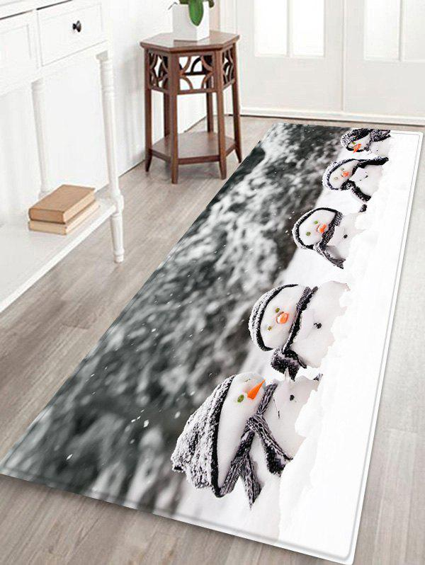 Christmas Snowman Brother Non-slip Flannel Floor Rug - GRAY W16 X L47 INCH