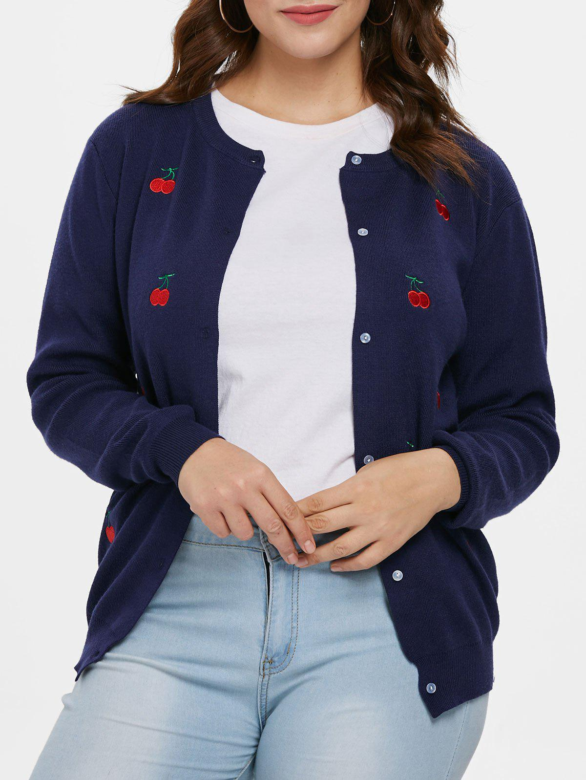 Plus Size Cherry Embroidered Cardigan - CADETBLUE 1X