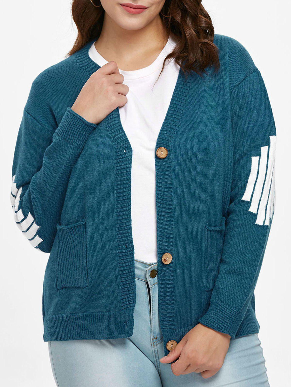 Plus Size Buttoned Sweater Cardigan - PEACOCK BLUE 2X