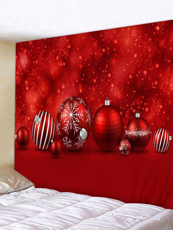 Christmas Ball Print Wall Tapestry Art Decor - RED W79 X L71 INCH