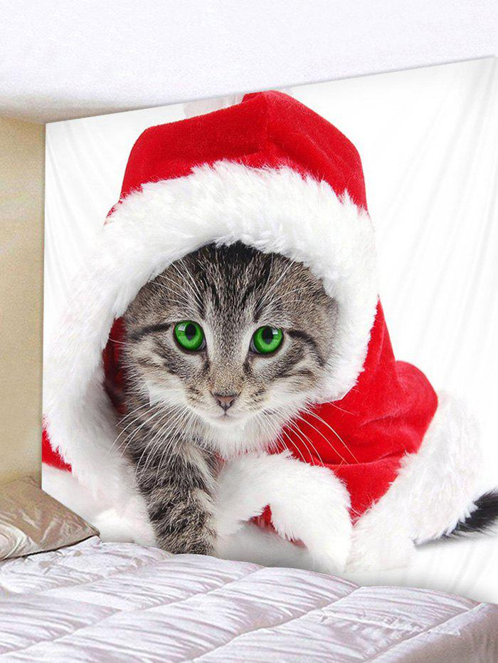 Christmas Cat Print Wall Tapestry Art Decoration - RED W91 X L71 INCH