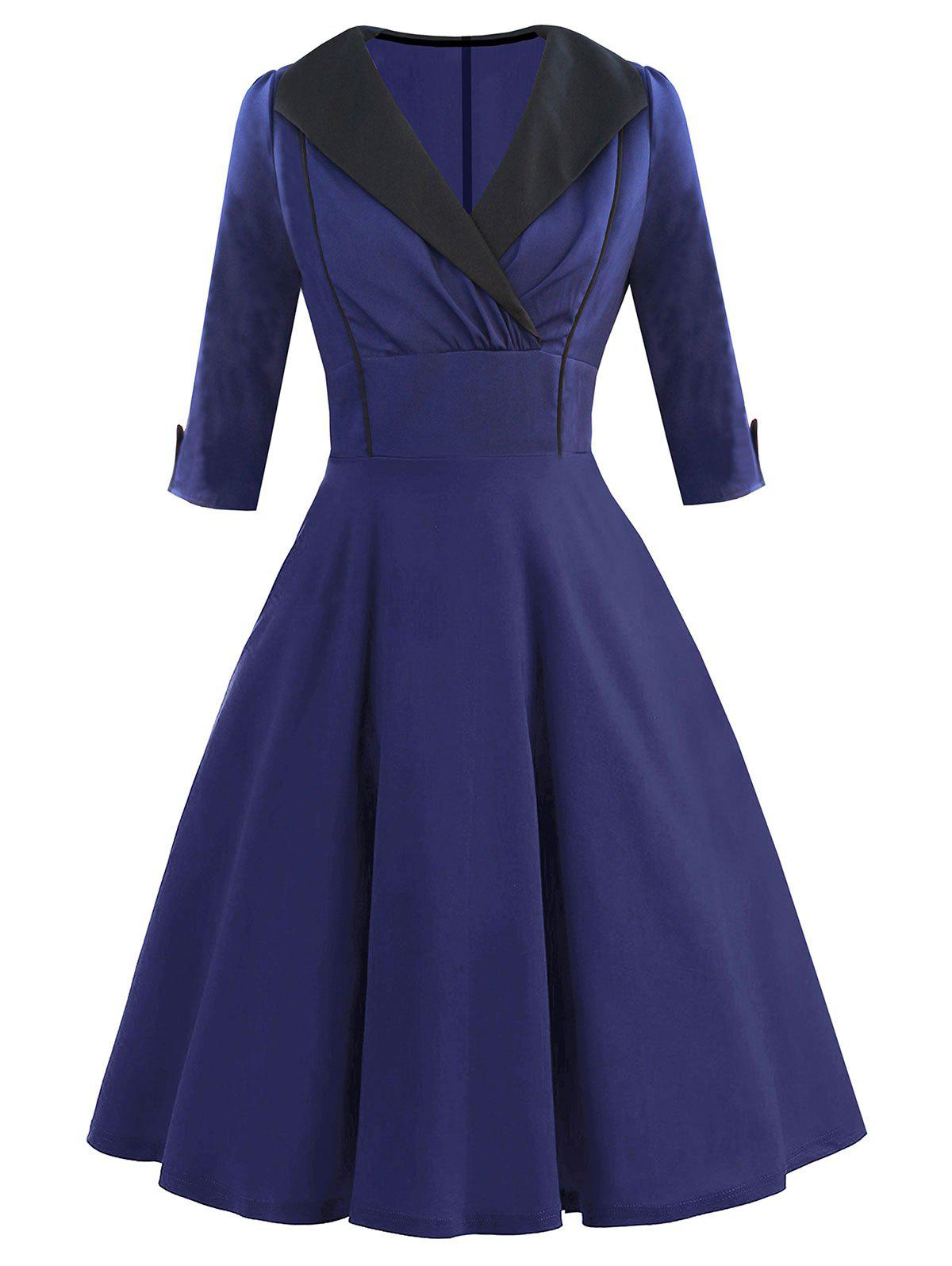 Retro Shawl Collar Pin Up Dress - DEEP BLUE L