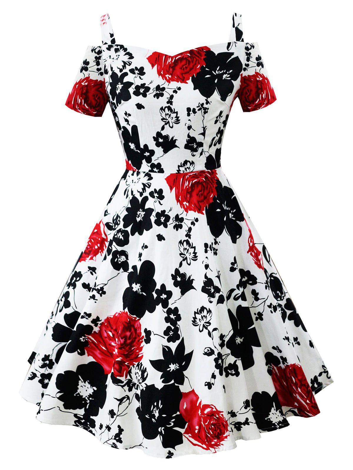 Vintage Open Shoulder Floral Pin Up Dress - WHITE M