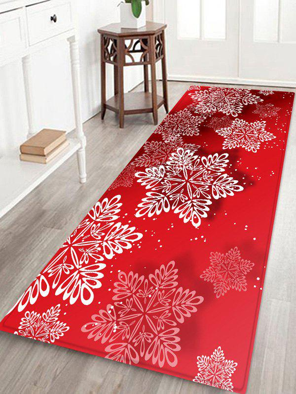 Christmas Snowflake Print Non-slip Flannel Floor Rug - RED W16 X L47 INCH