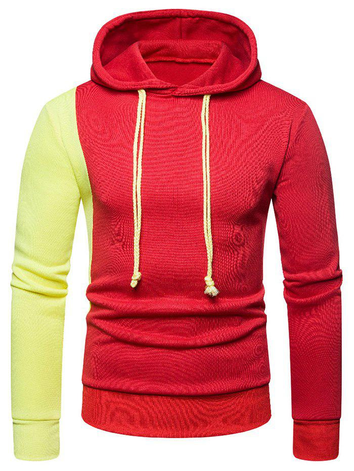Contrast Color Long Sleeves Drawstring Hoodie