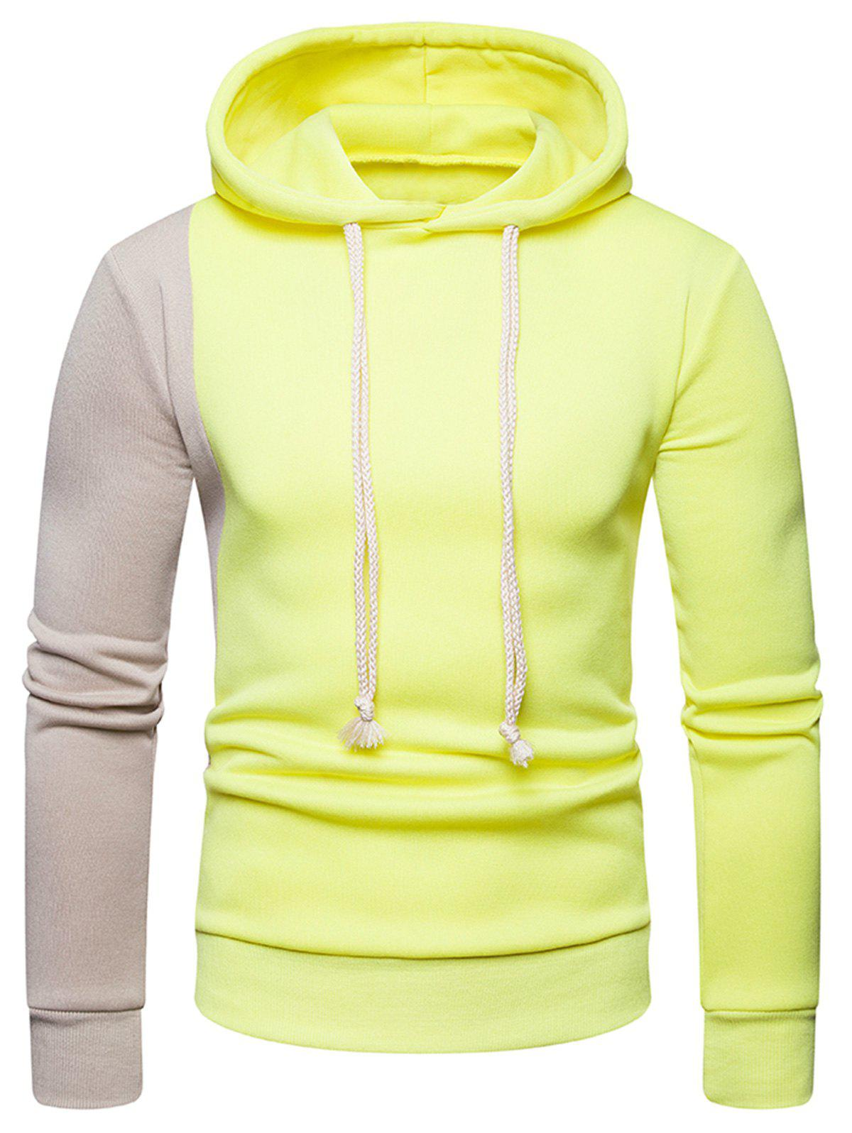 Contrast Color Long Sleeves Drawstring Hoodie - YELLOW XL