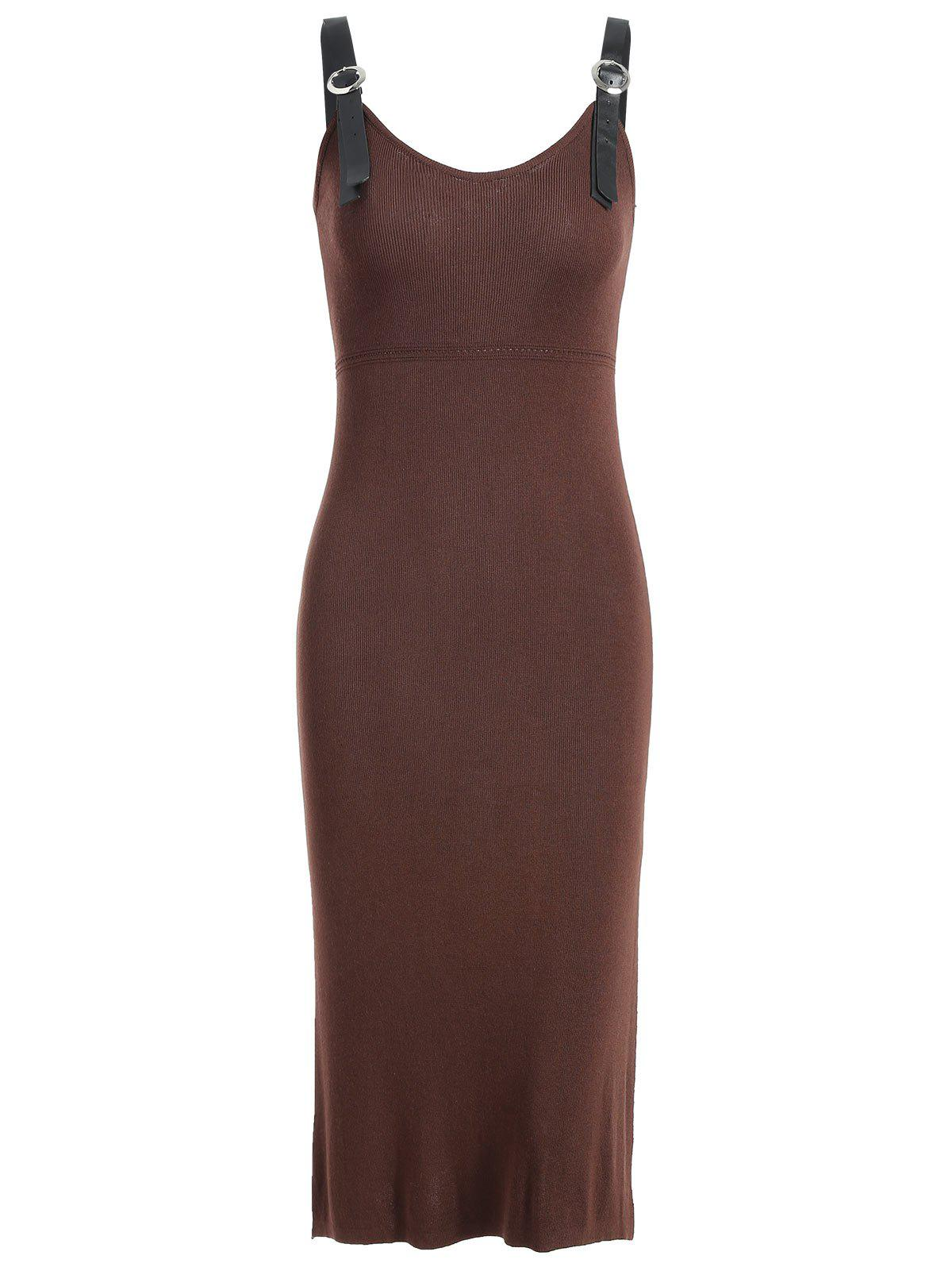 Knit Bodycon Knee Length Dress - COFFEE M