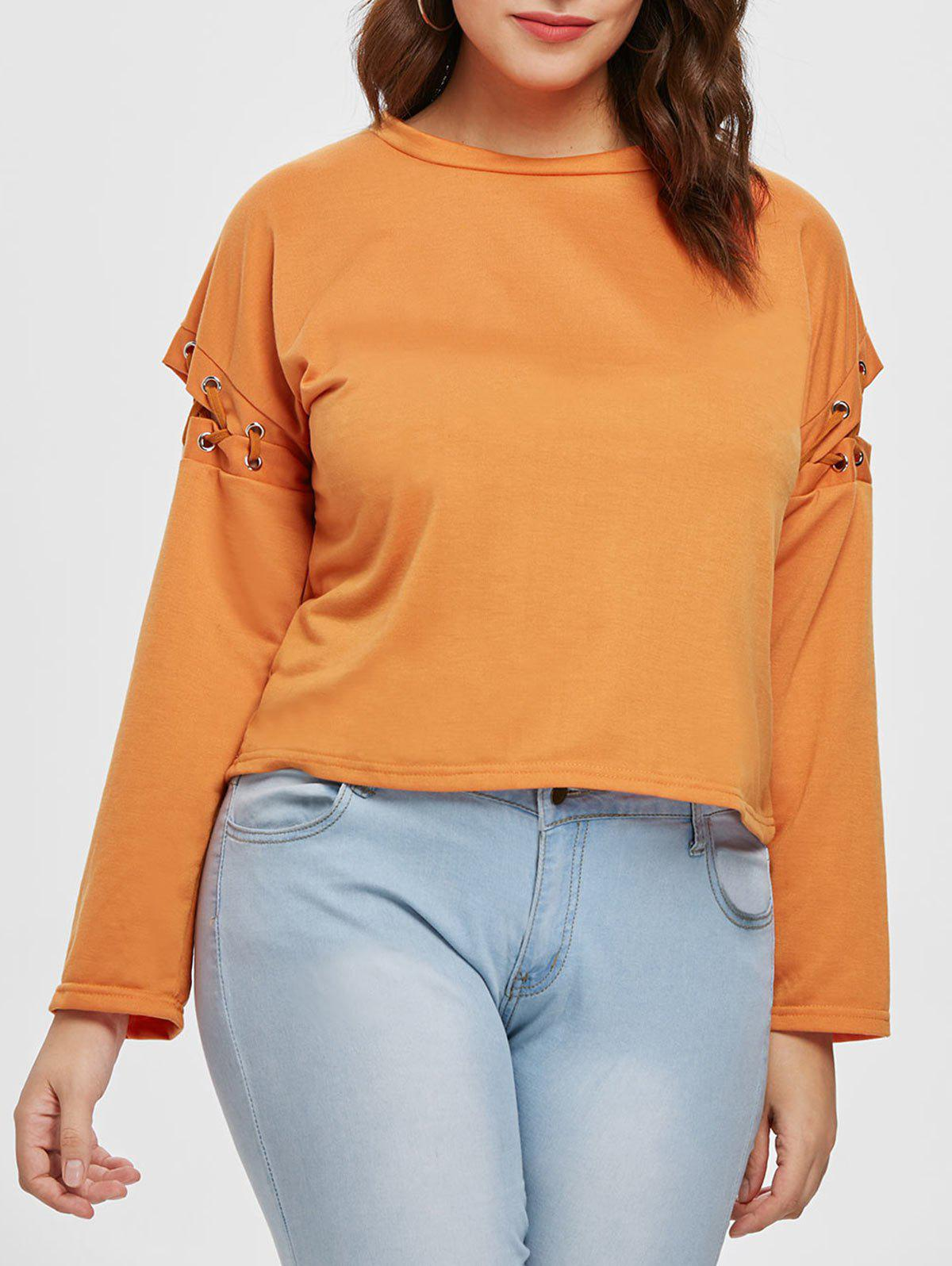 Cut Out Sleeve Plus Size Round Neck T-shirt - TANGERINE 2X