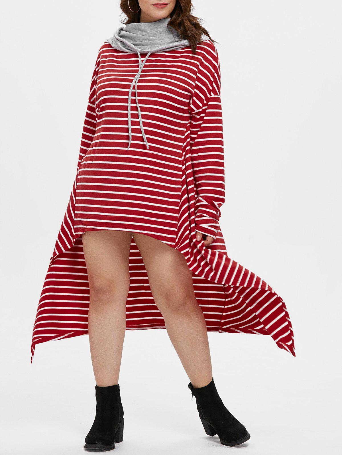 Cowl Neck Plus Size Striped High Low Dress - RED L