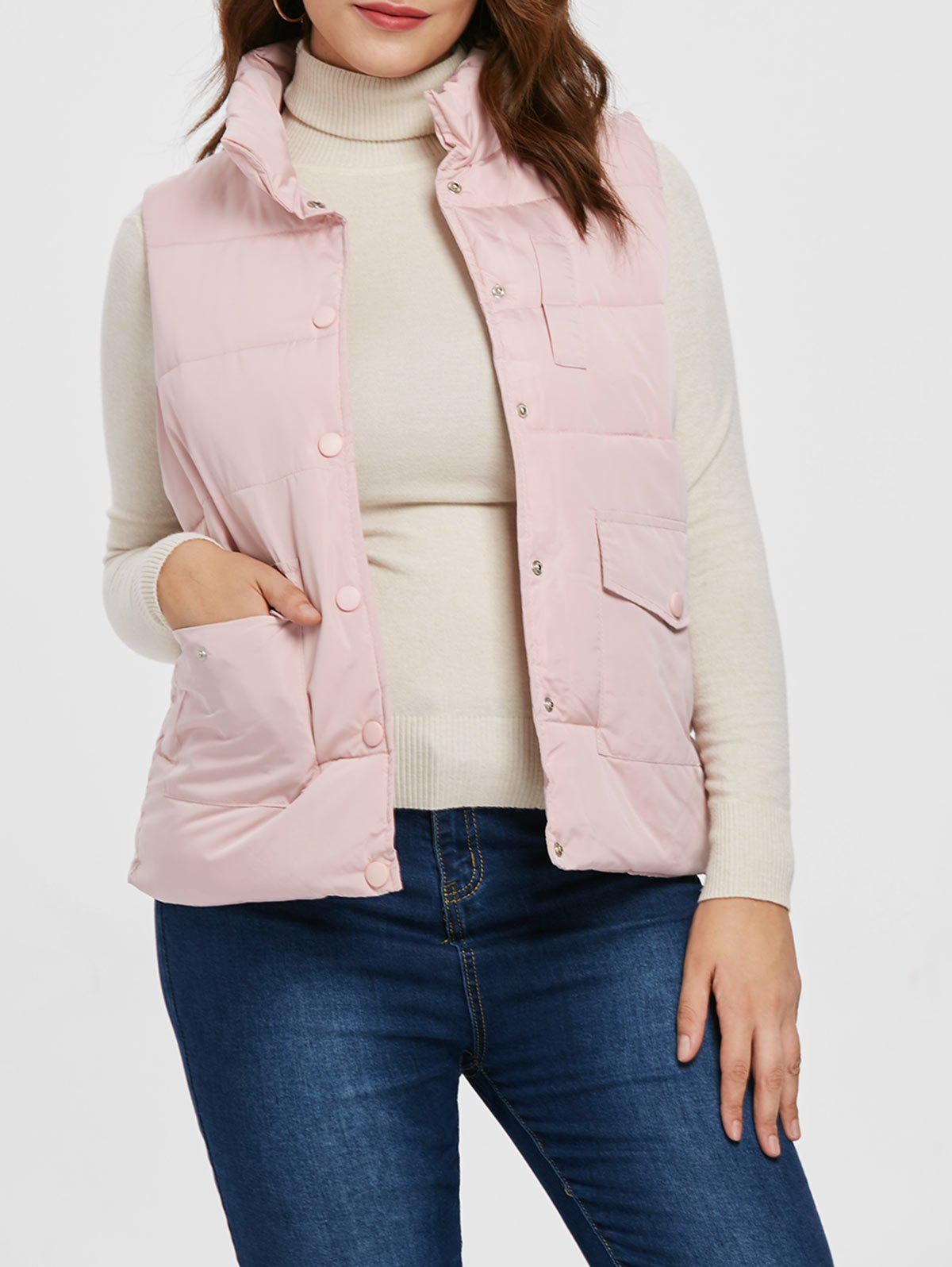 Plus Size Buttoned Down Vest - PINK L