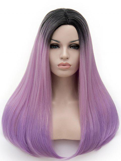 Long Middle Part Colormix Straight Cosplay Party Synthetic Wig - multicolor I