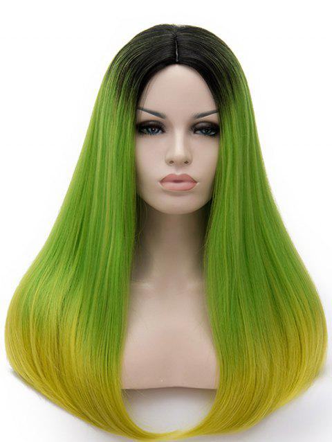 Long Middle Part Colormix Straight Cosplay Party Synthetic Wig - multicolor J
