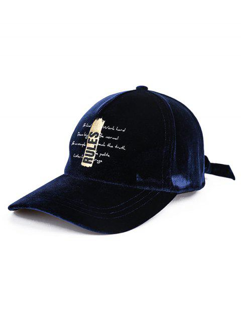 Vintage Letter Embroidery Baseball Hat - MIDNIGHT BLUE